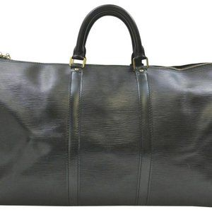 Louis Vuitton Black Epi Leather Noir Keepall 50 Du